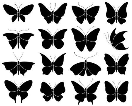 Butterfly silhouettes. Black stencil insect pattern, stylized spring symbol. Wedding decor elements, tattoo wing shapes vector wildlife elegant set Ilustração