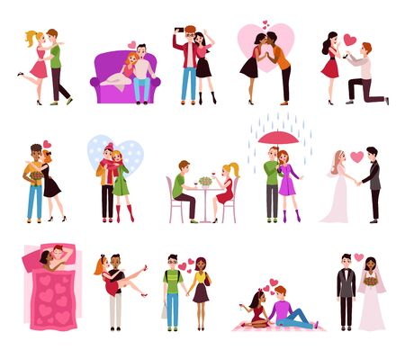 Hugging couple in love. Llifestyle of happy romantic couples, loving persons girlfriend and boyfriend in restaurant, walking in raining or marriage isolated vector set Ilustrace