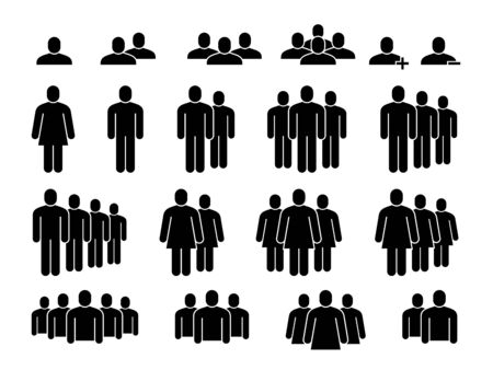 People icons. Human community group, people crowd. Meeting employees, staff members and population signs, user silhouette figures in organization vector set