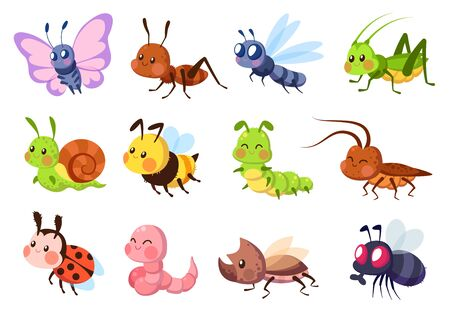 Cute insects. Bugs creatures bee and ladybug, worm, snail and butterfly, caterpillar. Mantis, dragonfly and fly funny cartoon vector wildlife set Ilustracja