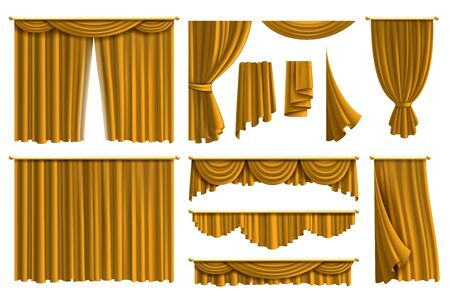 Realistic golden curtains. Luxury fabric silk curtain for theatre or window decoration in interior isolated vector drapery elegant set