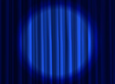 Stage blue curtain. Theatrical or cinema cloth luxury silk elegant closed curtains with spotlight vector background with projector beams