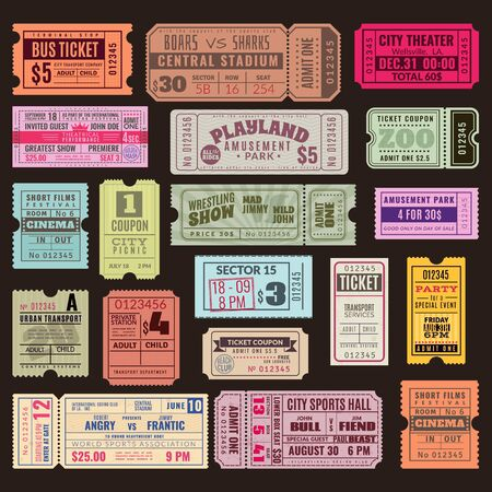 Cinema or theater ticket set. Vintage invite tickets with stamp, retro voucher for museum or concert event isolated realistic vector design Ilustração