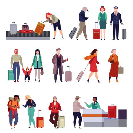 People with luggage. Travelling couple holding child and person together with suitcase in passport control, tourist and traveler isolated vector set