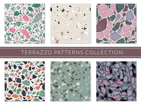 Terrazzo pattern. Veneziano composite texture italian mosaic, granite flooring tile. Marble stone seamless sample, architectural surface vector set