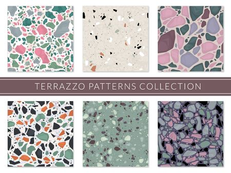 Terrazzo pattern. Veneziano composite texture italian mosaic, granite flooring tile. Marble stone seamless sample, architectural surface vector set