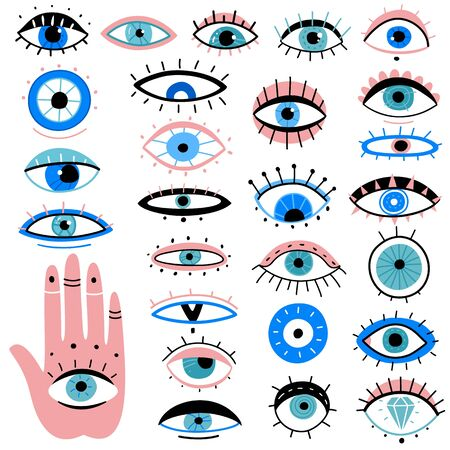 Evil eyes. Hand drawn various talismans, different shapes mystic elements, luck occult amulet, magic alchemy sketch eye tattoo vector isolated traditional symbols