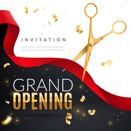Grand opening. Golden confetti and scissors cutting red silk ribbon, inauguration ceremony banner, opening celebration vector launch of business poster