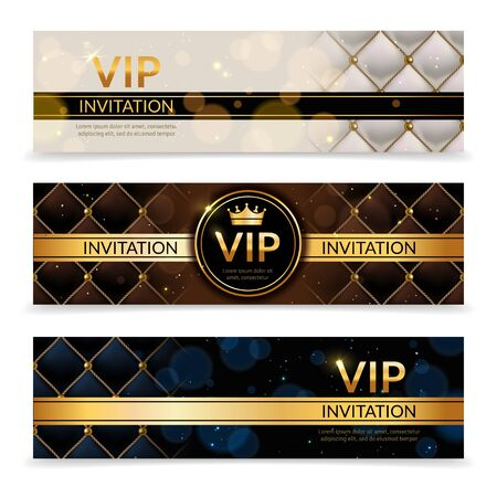 Vip banners. Premium invitation card, luxury golden and platinum design template, elegant glamour vip club party promotion flyer vector royal collection