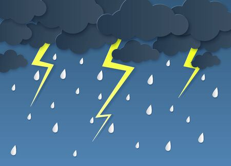 Rain thunder lightning paper cut. Rainy season, heavy rain falling water drops. Cloudy sky and flash, storm weather origami vector papercut background for forecast