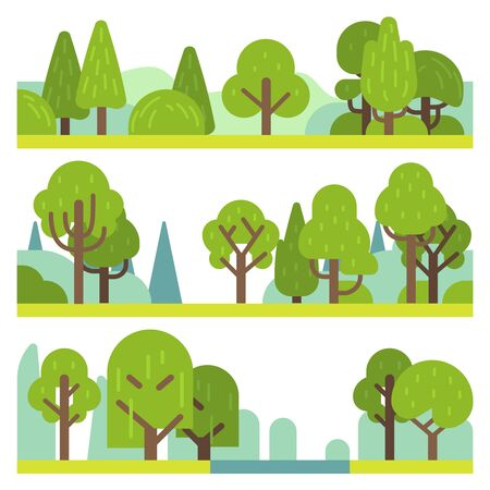 Forest and park plants. Flat different trees, bushes and grass. Woodland and park elements, trendy natural simple minimal landscape panorama vector objects Illusztráció