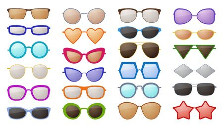 Sunglasses silhouettes. Colorful fashion protective eyewear accessories in various styles, trendy glamour spectacles with reflection vector eyeglass set Ilustração