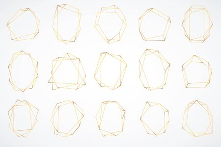 Gold polygonal frames. Elegant geometric polyhedron art deco style for wedding invitation card, decorative trendy glamour borders vector isolated abstract shapes