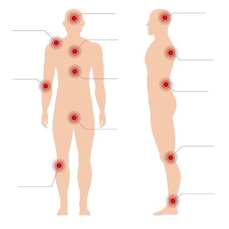 Man body with pain points. Circle painful red spot painfully point on human silhouette vector medical abstract illustration