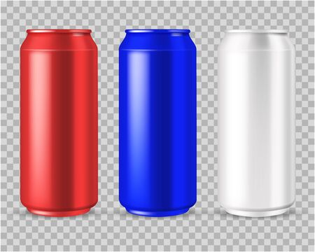 Realistic cans. beer or energy drink aluminium blank can in red, white and blue isolated vector empty mockups on transparent background