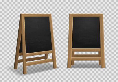Menu announcement board. Realistic black wooden easel, sidewalk stand, restaurant board different angles for outdoor street menu or shopping advertising isolated vector mockup