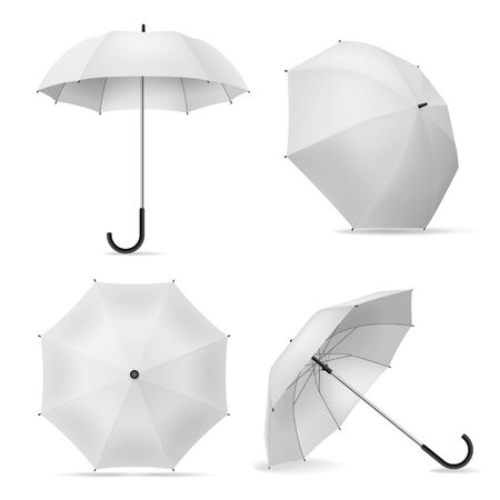 Umbrella. Realistic white open parasols various positions, top and front view rain accessories template for branding, advertise isolated vector mockup
