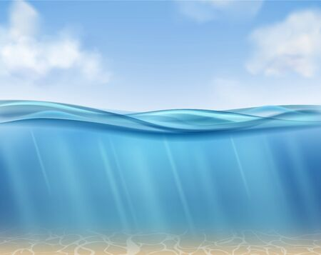 Ocean surface. Underwater blue water ocean, suns rays and seabed. Clouds, sea waves horizontal panorama. Isolated realistic vector empty undersea deep texture