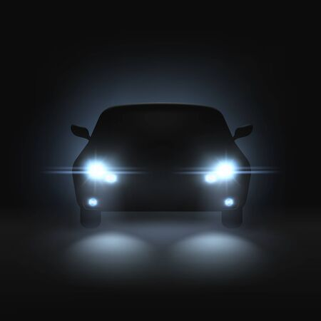Car headlights. Realistic car with bright headlights in dark, rays light and white blur shadows, night front automobile silhouette vector mockup with blinking spotlight