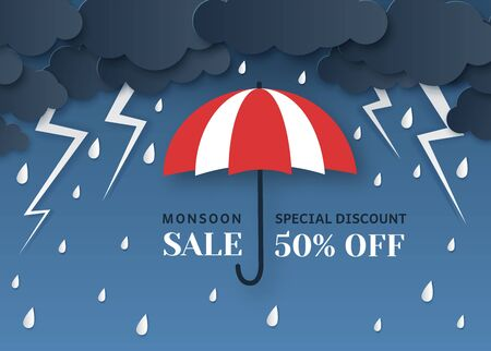 Monsoon sale. Paper cut origami style umbrella, rain and clouds. Thunderbolt, storm weather, best season offer advertising poster vector template of seasonal discount flyer