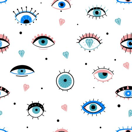 Eye doodles seamless pattern. Hand drawn various eyes talismans, different shapes mystic elements, trendy print fabric design vector texture and minimal, wrapping background,