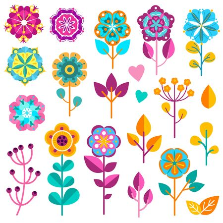 Flower icons. Cute spring garden flowers and nature elements for greeting cards, stickers, labels and tag, pretty florist scrapbook gardening decoration child plant vector set