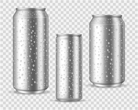 Realistic cold cans. Silver or aluminium metal wet blank energy drink and beer cans with droplets vector packaging canned mockups