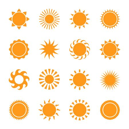 Sun icons. Yellow star pictogram, summer heat, sunlight, nature sunset or bright morning trendy symbol for website design mobile app vector sunbeam set Illusztráció