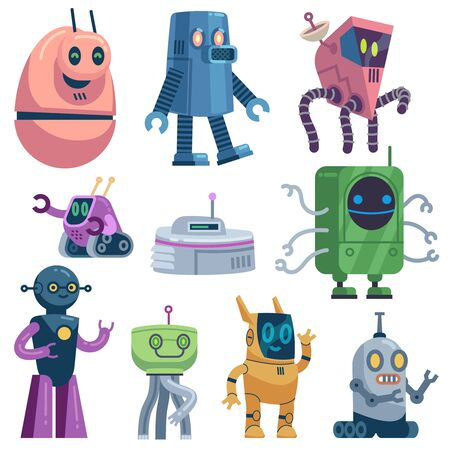Cute robots. Colorful futuristic robotic computer toys, robot transformer, modern technology assistant guardian cartoon energy machines set Stock Illustratie