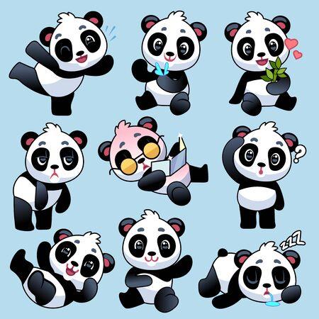 Panda. Simpatici orsi asiatici in diverse pose, mangiano stelo di bambù e dormono, giocano nello zoo o nella giungla, simpatici animali giovani cartoni animati vettore personaggi del bambino