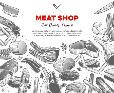 Sketch meat. Hand drawn meat organic products package design, beef and pork, sausage and lamb, ham pieces and chicken, food engraved vector background