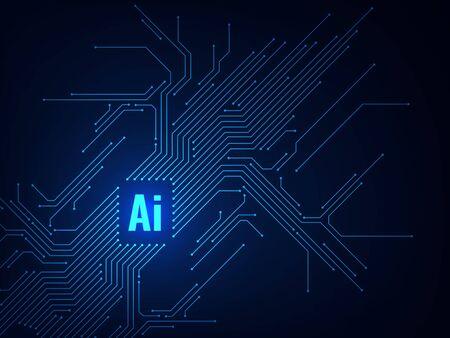 Ai-Chipsatz. Elektronische Programmierung künstlicher Intelligenz der Leiterplatte, digitale Mikrochip-Technologie, futuristisches Databoard-Vektorkonzept Vektorgrafik