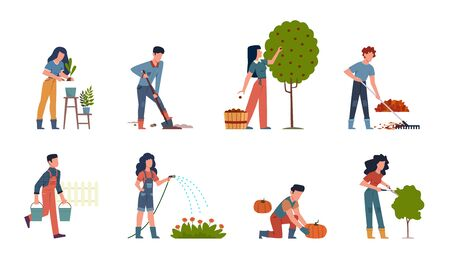 People gardening. Characters doing farming job watering, gathering, planting, growing and transplant sprouts using equipment vector gardener set Illusztráció