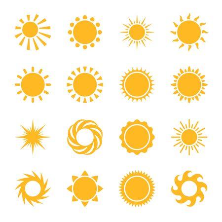 Cartoon-Sonne. Gelbe Sternpiktogramm-Sonnensymbole, Sonnenlichtsonnenuntergang oder heller Morgen, Sommerhighlight einfache Symbole Vektorset Vektorgrafik
