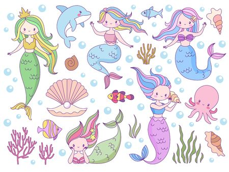 Mermaid. Sea world little mermaids, cute mythical princess and dolphin, seashell and seaweeds, fishes for print books, game or inviting card vector nautical characters