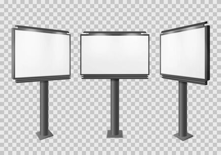 Billboard. Blank big advertisement construction mockup, different perspectives information board display, empty stand banner 3d vector isolated horizontal advertising set Illusztráció