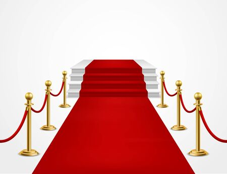 Red carpet. Grand opening, golden metal barriers and red carpet with podium for vip event, presentation celebrity awards and realistic success wealth vector background