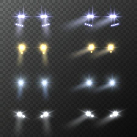 Car headlights. Realistic round bright cars headlight, light flares and blur shadows effect, automobile glow beams in night darkness vector set