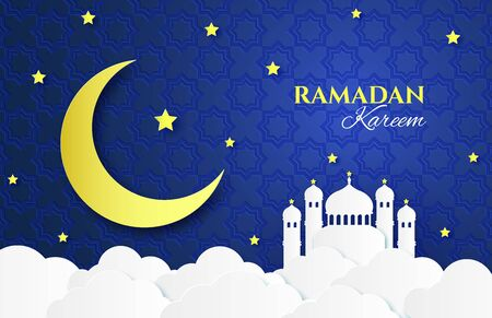Paper Ramadan. Mosque, yellow moon and stars, clouds paper cut origami style, islamic festive greeting card, banner sky poster vector horizontal background