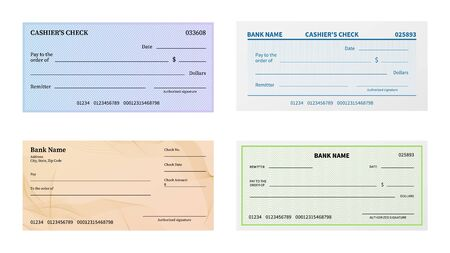 Check template. Blank bank cheque with guilloche pattern and watermark for banknote. Voucher or certificate, coupon or ticket paper blankcheck mockup vector set