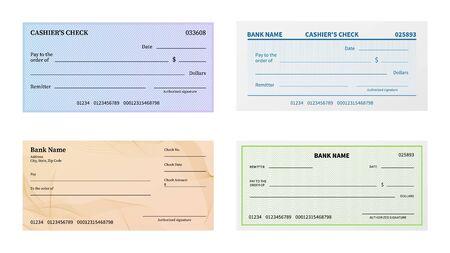 Vérifiez le modèle. Chèque bancaire vierge avec motif guilloché et filigrane pour billet de banque. Ensemble de vecteurs de maquette de chèque en blanc de bon ou de certificat, de coupon ou de billet