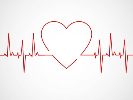 Ekg with heart. Heartbeat ecg line, monitor with signal cardiac rhythm, electrocardiographic pulsing chart or cardiogram, healthcare app vector concept