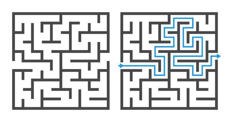 Maze game. Logic game labyrinth, square shapes brainteaser and solution, childrens puzzle exercise with entry and exit vector rebus template elements Illusztráció