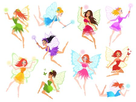 Fairy. Magical little fairies in different color dresses with wings, mythological winged flying fairytale characters for kids book vector cartoon dance lady set