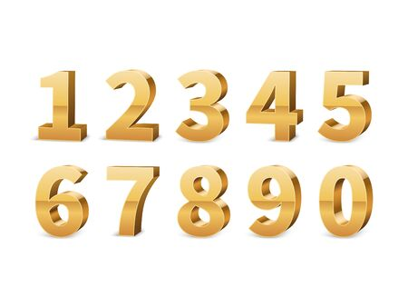 Gold 3d numbers. Big golden number luxury symbols for typography elegant design, yellow conceptual typeface anniversary elements contemporary isolated vector set Illusztráció