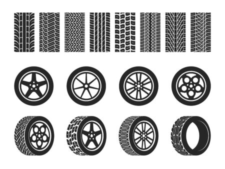 Wheel tires. Car tire tread tracks, motorcycle racing wheels and dirty tires track. Motocross bike trail, vehicle track or auto race tires. Vector isolated set with tracking stamp Illusztráció