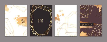 Card with gold frames. Trendy luxury wedding invitations with elegant geometric polyhedron, graphic ornament brochure or flyer vector modern design template