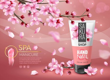 Sakura cosmetic. Cherry blossom sakura branches with pink petals cosmetics ad, cream or perfume bottle luxury promotional advertisement poster vector template