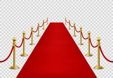 Red carpet. Grand opening ceremonial, vip event or state visit. Cinema premiere, celebrity entrance red velvet carpet with barriers at award ceremony vector mockup