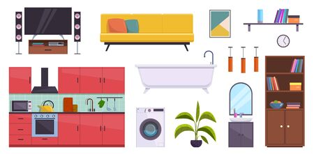 Flat furniture. Sofa, lamps and pictures, bath, bookcase and washbasin. Tv, washer and kitchen home room interior modern accessories vector set